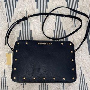 NWT Michael Kors Sandrine Stud Black Crossbody Bag